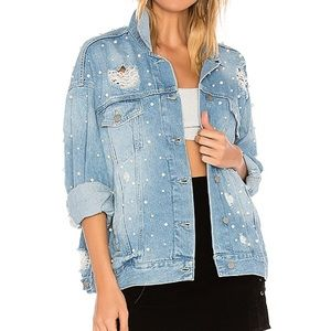 Free People Sunday Funday Trucker Jacket Pearl L